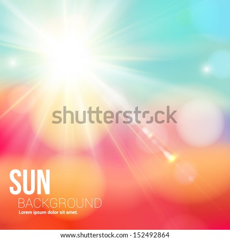 bright shining sun with lens