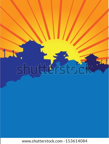 sun rise over asian hill side