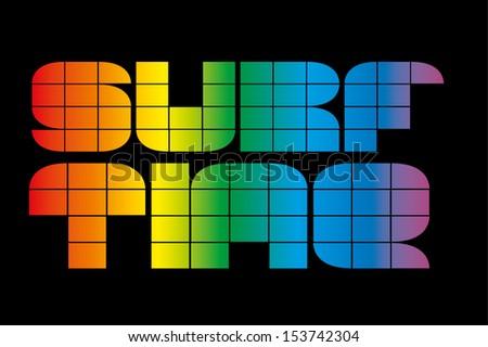 surf time rainbow vector art