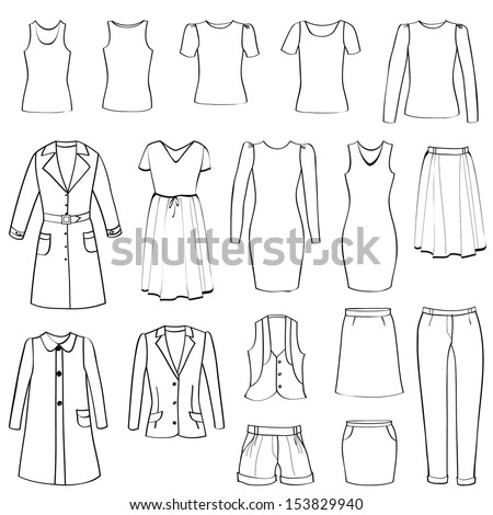 fashion icons set female cloth