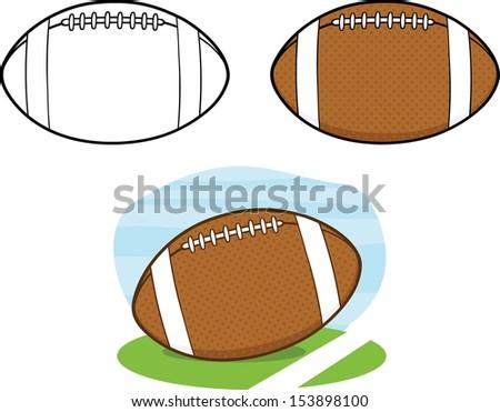 american football balls vector