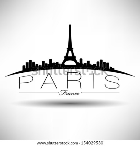 paris skyline modern typography