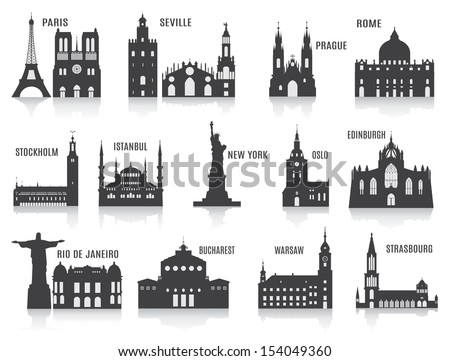 silhouettes of cities set for