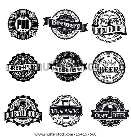 retro set styled label of beer