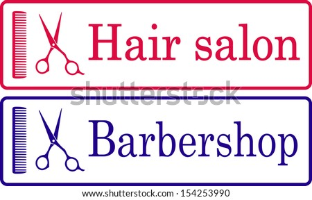 two hairdresser signboard with