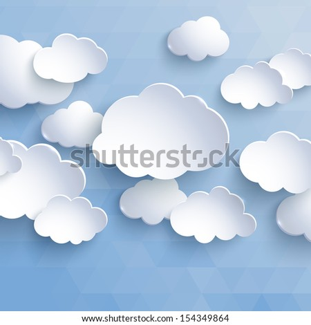 white paper clouds on a blue