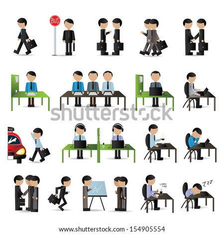 business people set   isolated