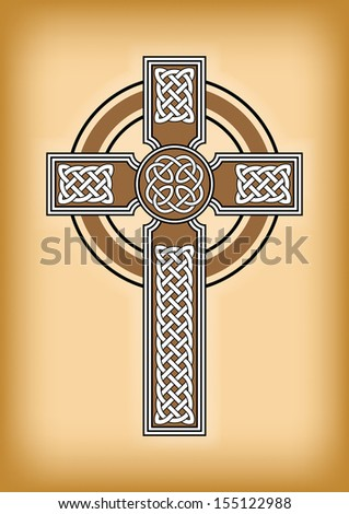 celtic cross on brown vintage