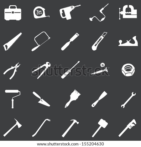 vector set of 25 white tool