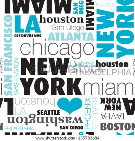 seamless usa city typography