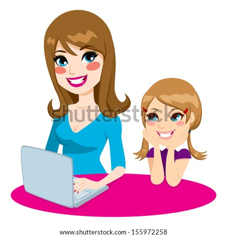 mother teaching daughter how to