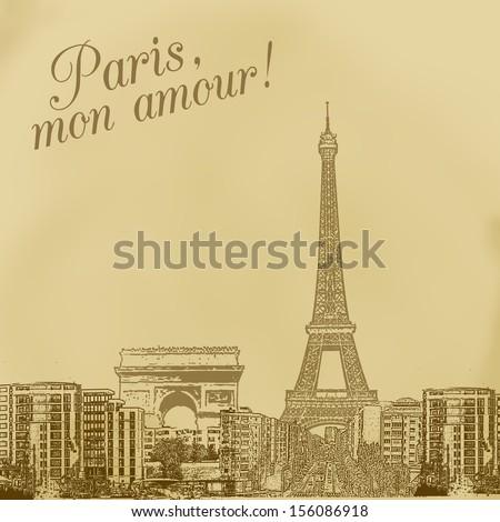 scenery of paris on vintage