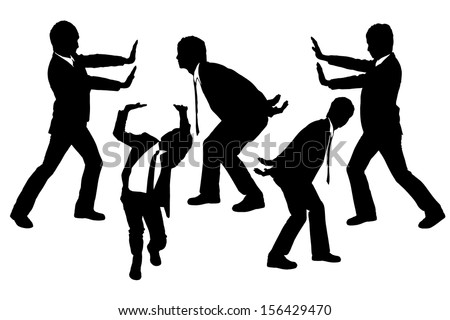 silhouettes of businessmen push