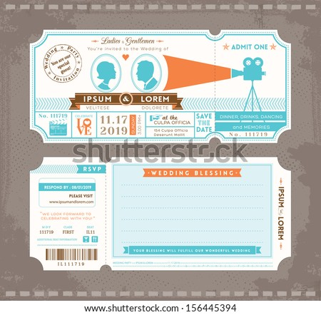 vector movie ticket wedding