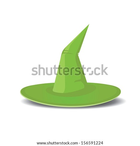 tall witch green hat isolated