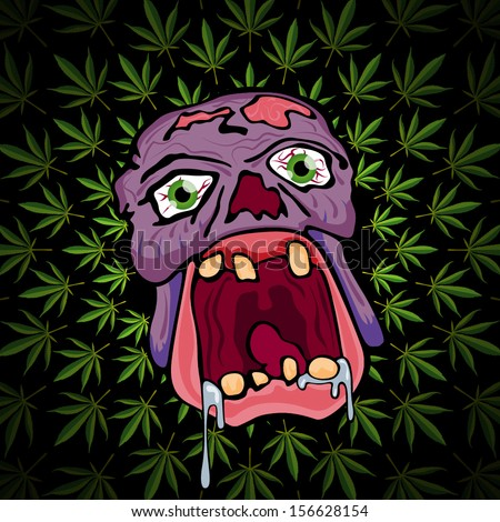 psychedelic trippy zombie head