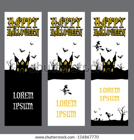 vector halloween banner set for