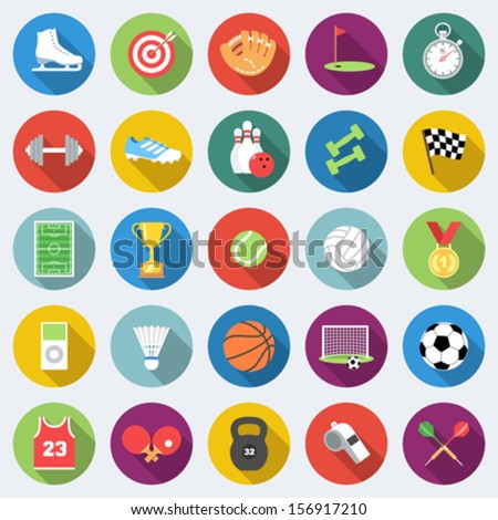 set of sport icons in flat