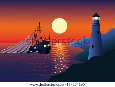 night landscape with the sea by