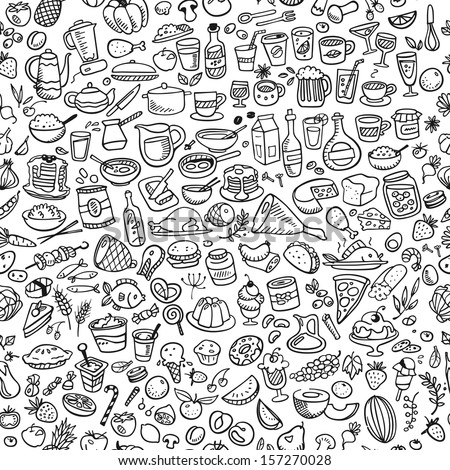 doodle food icons seamless