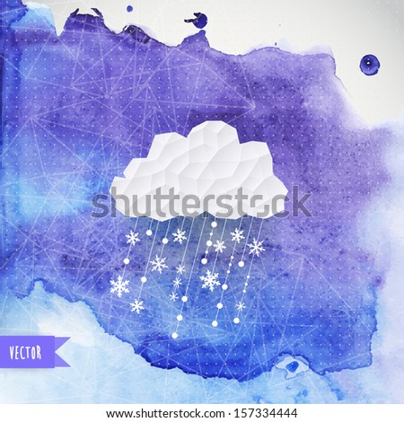 vector cloud with snowfall on