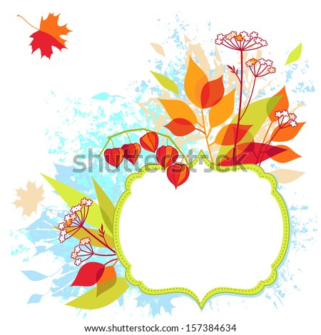 autumn floral vector frame