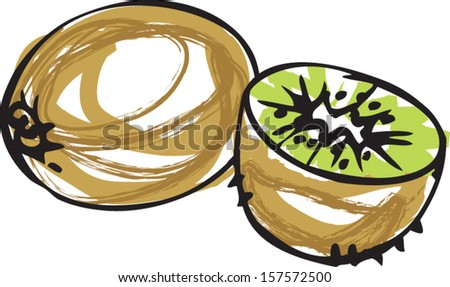 whole and half kiwi vector