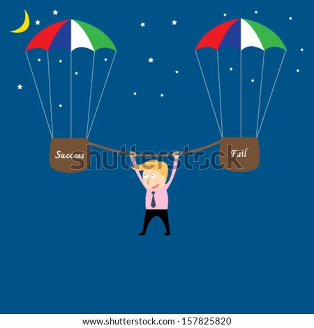 business man hanging from rope