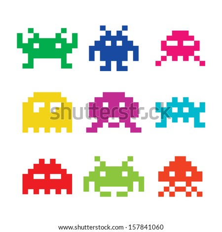 space invaders  8bit aliens