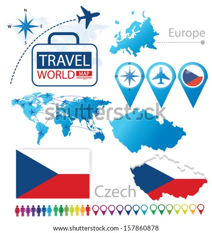 czech republic flag world map