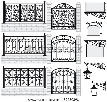 set of iron wrought fences