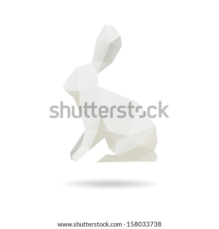white rabbit abstract isolated