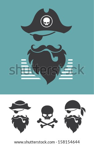 pirate head symbols with skull