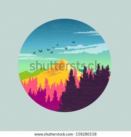 colourful countryside vector