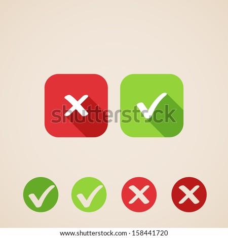 vector check mark icons flat
