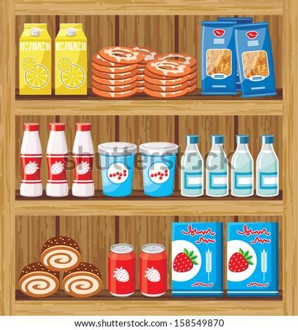 supermarket shelfs with food