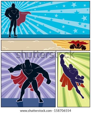 superhero banners  set of 4