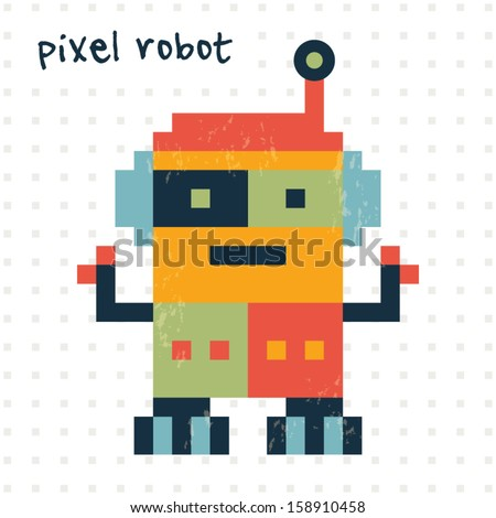 cute retro pixel robot in