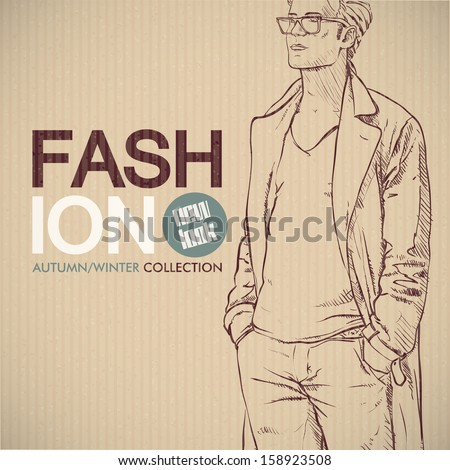 stylish dude sketch on