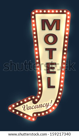 glowing motel sign with light