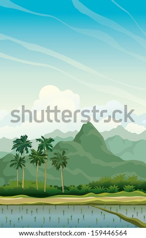 tropical vector landscape with