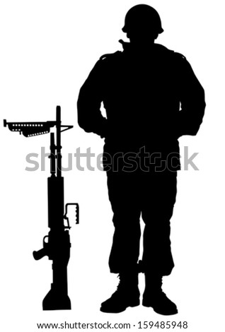 vector drawing of a soldier in