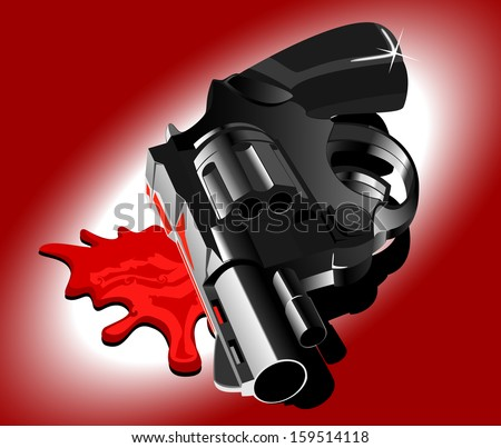 gun and blood vector