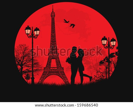 lovers in paris on sunset