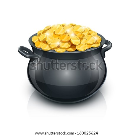 pot with gold coin for patrick