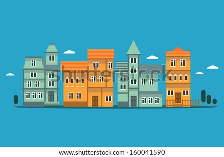 illustration of houses and