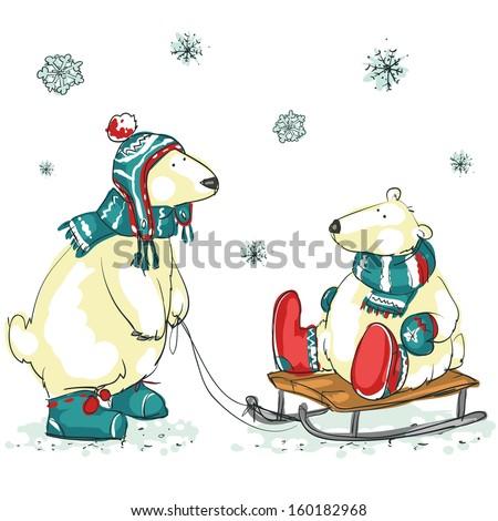 polar bears  hand drawn