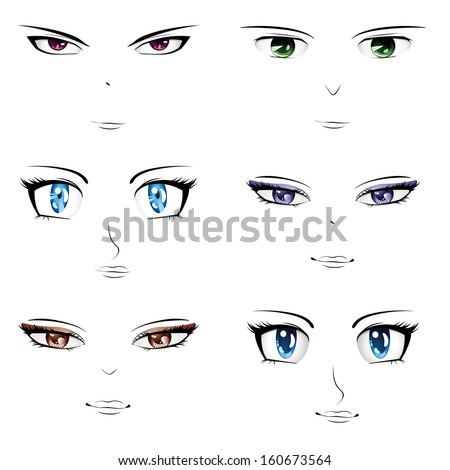 set of different faces in manga