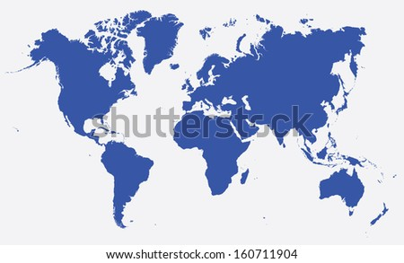 world map  dark blue on white