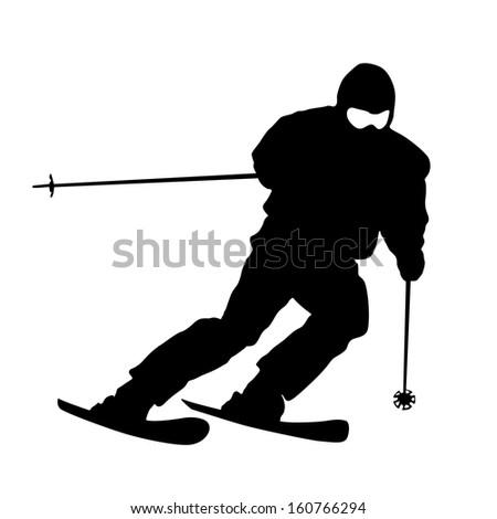 mountain skier  speeding down
